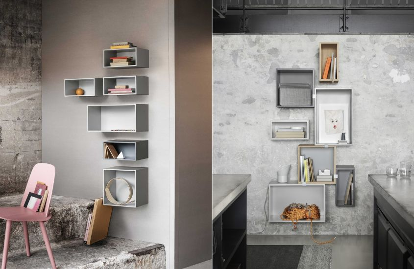 Stacked shelving system from Muuto