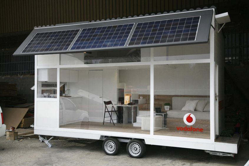 Vodafone tiny house on wheels