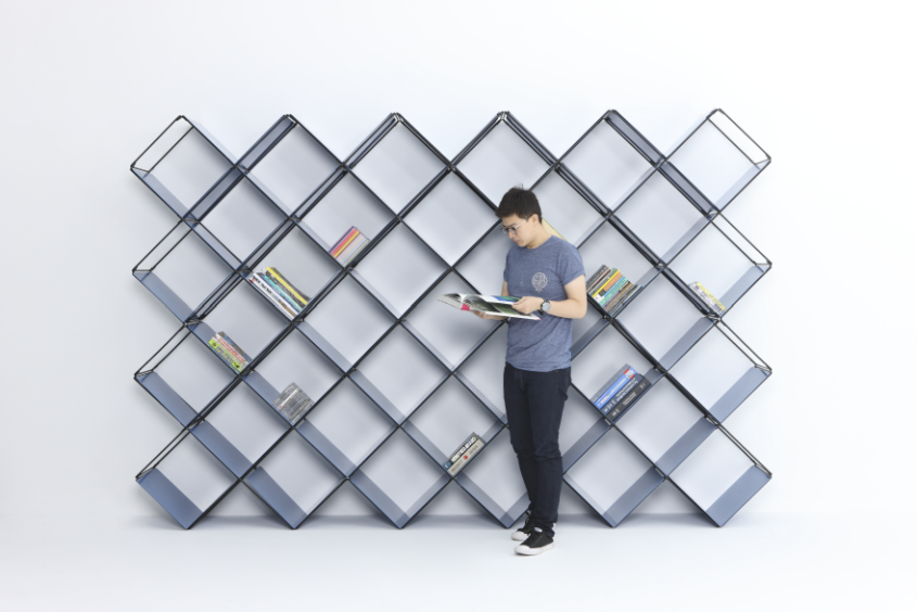 +X modular bookshelf by Niu Lei