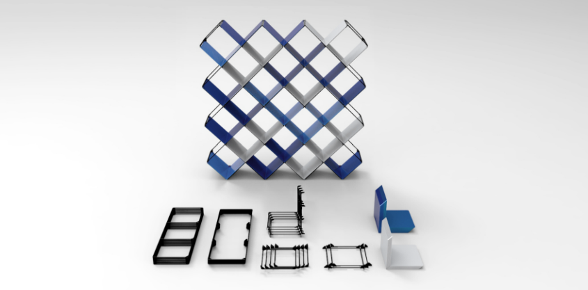 +X modular bookshelf by Niu Lei