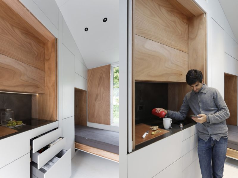 avoid mobile tiny house with transforming interiors creates flexible living space. Black Bedroom Furniture Sets. Home Design Ideas