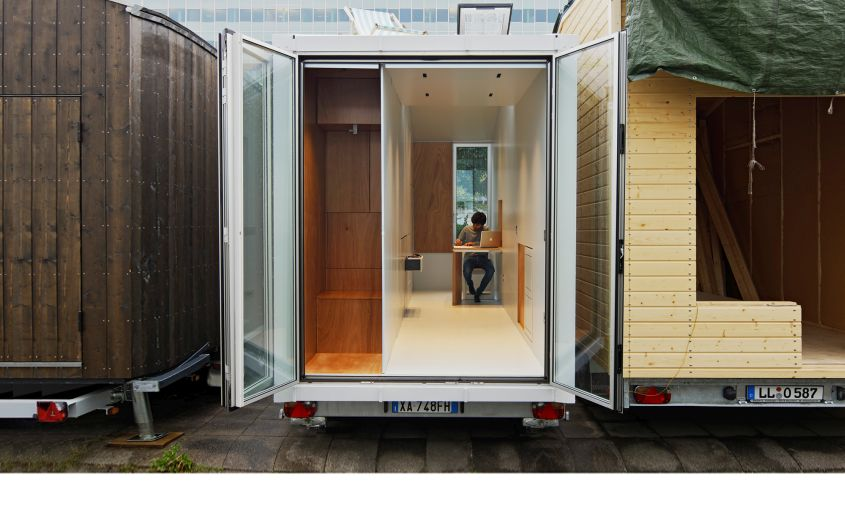 aVOID tiny house on wheels Combining minimalist design with transforming furniture elements, it is a mind-blowing tiny house on wheels designed by Italian architect Leonardo Di Chiara. There are retractable walls which hide behind furniture and other required accessories to let homeowners make ideal use of the available floor space. All living spaces are neatly tucked into the nine-square-meter space.