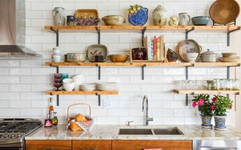 Small Space Shelves and Hooks for Kitchen