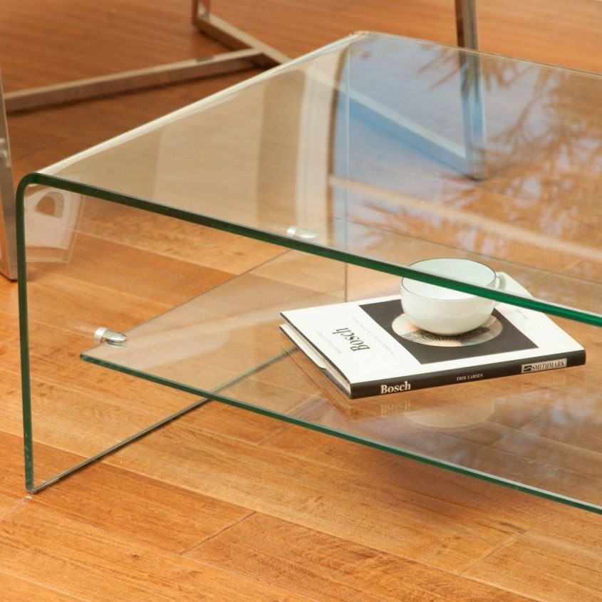 Charlize curved glass coffee table