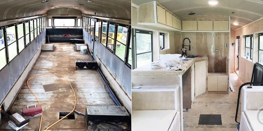 Couple Transforms old Thomas School into Comfortable Mobile Home