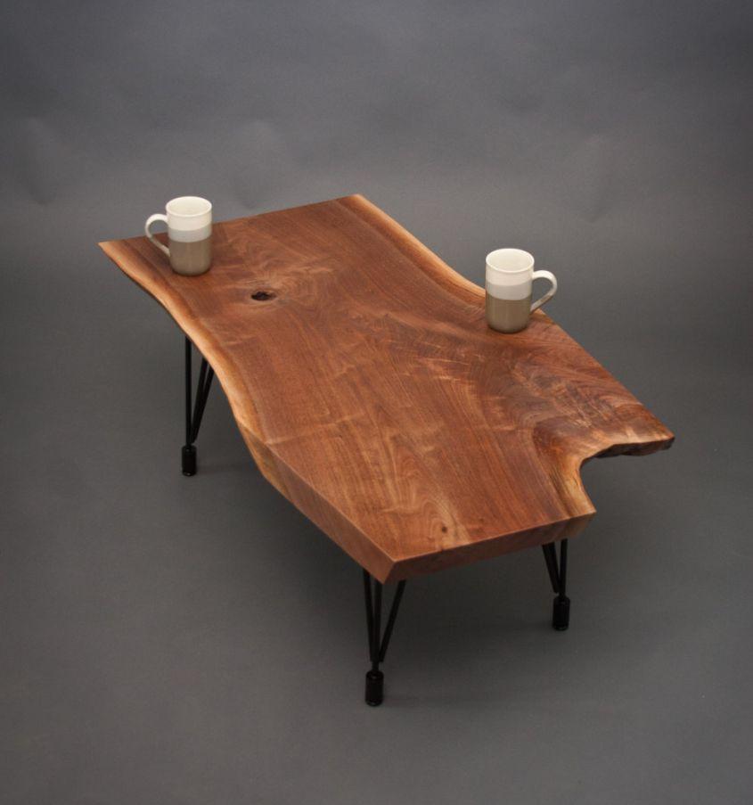 Live edge walnut wood slab coffee table