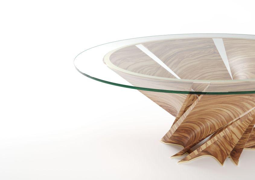 Torsion table by Mario Bellini for Natuzzi at Salone del Mobile 2018