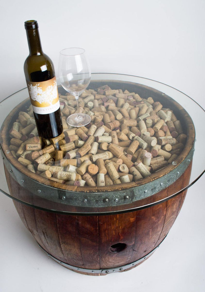 Wine barrel coffee table with glass top