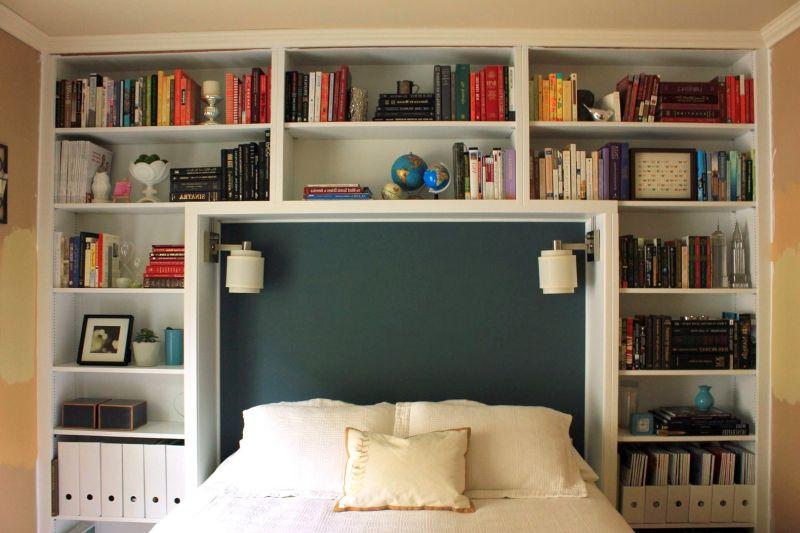 Bedroom vertical shelves