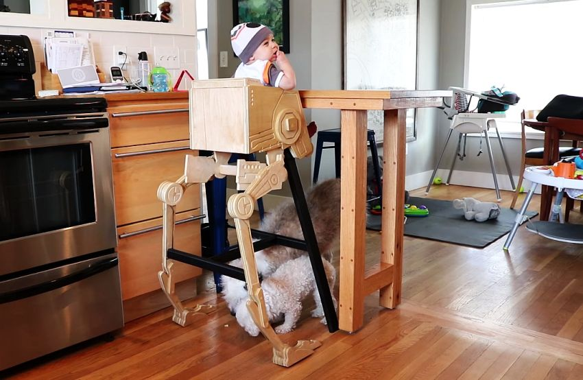 Creative Dad Builds Star Wars AT-ST High Chair for His Son