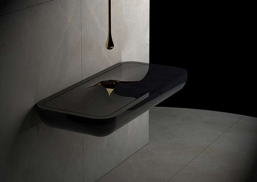 Marmi Serafiniu0027s Black Marble Washbasin Completes Your Modern Bathroom
