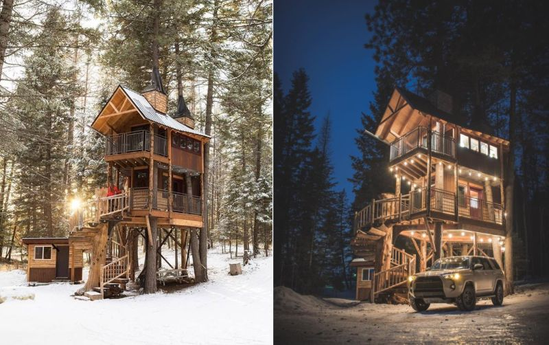 This Treehouse vacation rental in Montana is Ideal for a Family of Four
