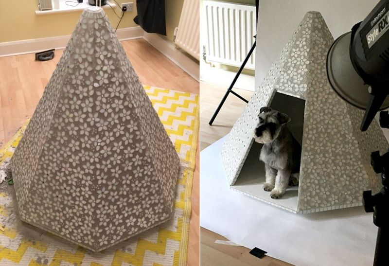 Mosaic dog kennel by Natalie Guy