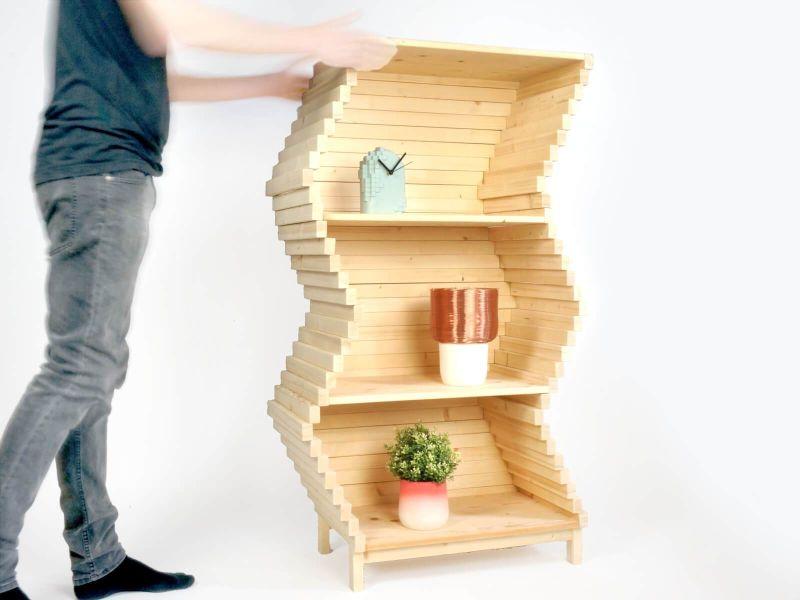 Studio Lorier Launching Shape-Changing Wave Bookshelf at Salone Satellite