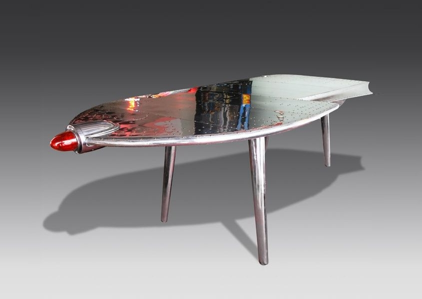 Shining Airplane Wing Desk Inspired by Tail Fin of 1930 Douglas DC-3