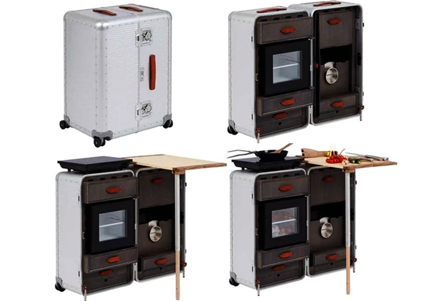 Marc sadler packs your kitchen in a travel suitcase for Fabbrica pelletteria milano