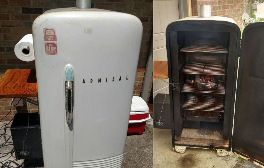 DIYer Upcycles Old Refrigerator into a Barbecue Grill Smoker