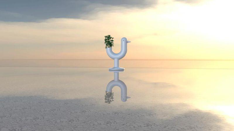 Eero Aarnio's Self-Watering Peacock planter for Vondom