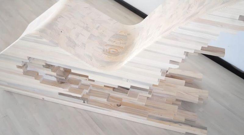 Pixel Wooden Lounge Chair by Lignum Mimics Cityscape