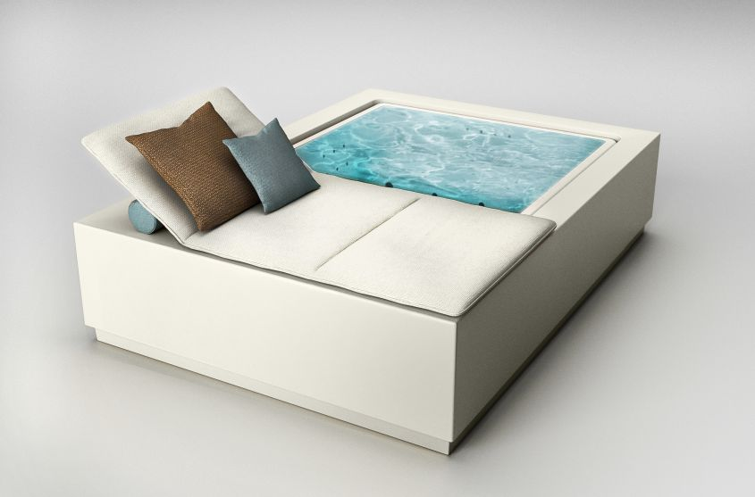 Quadrat Pool Relax by Zucchetti.Kos Doubles as Daybed
