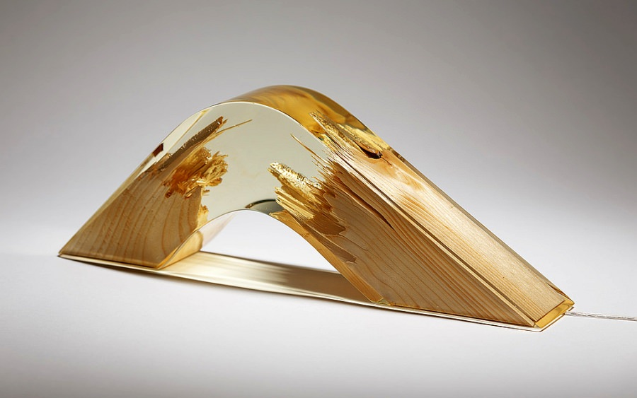 Wood and Resin Torn Lamps by Guideco Design