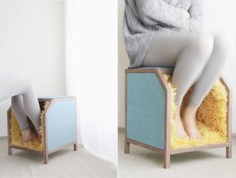 Carpet Upholstered Stool by Alexandros Kotoulas
