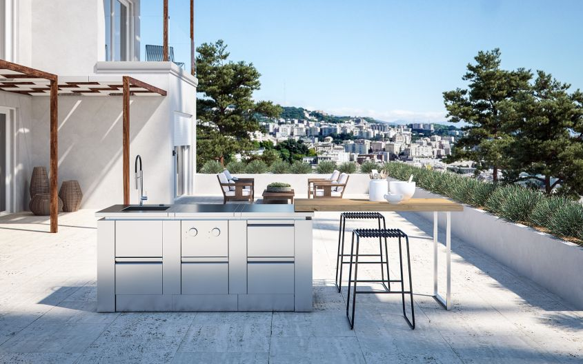 Modulare01 Stainless Steel Modular Outdoor Kitchen from ROK Italia