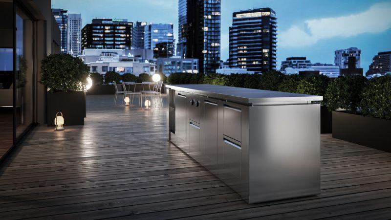 Modulare01 Stainless Steel Modular Outdoor Kitchen from ROK Italia