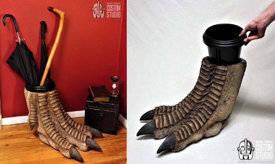 Dinosaur foot waste basket by Regal Robot
