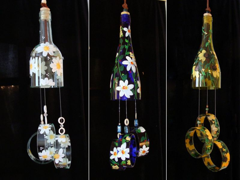 Etsy Joys wind chimes made of old wine bottles