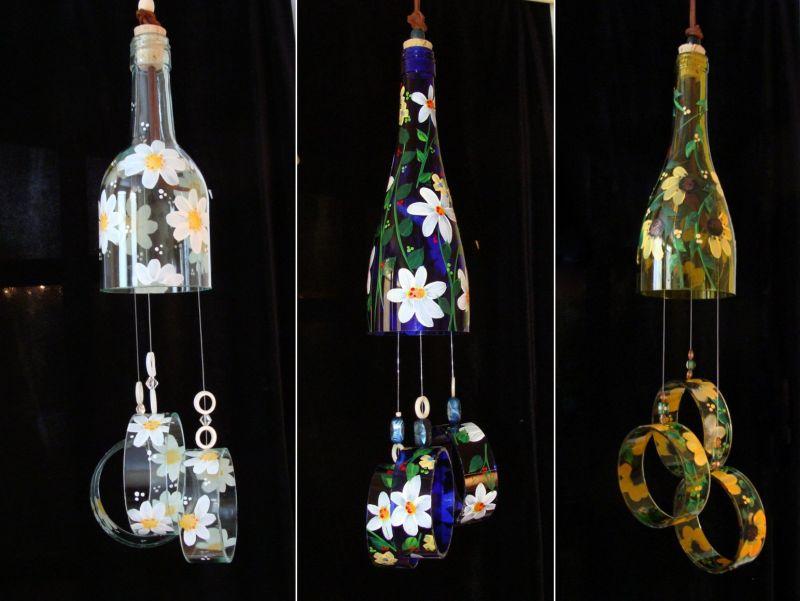 Etsy Joys wind chimes made of old wine bottles