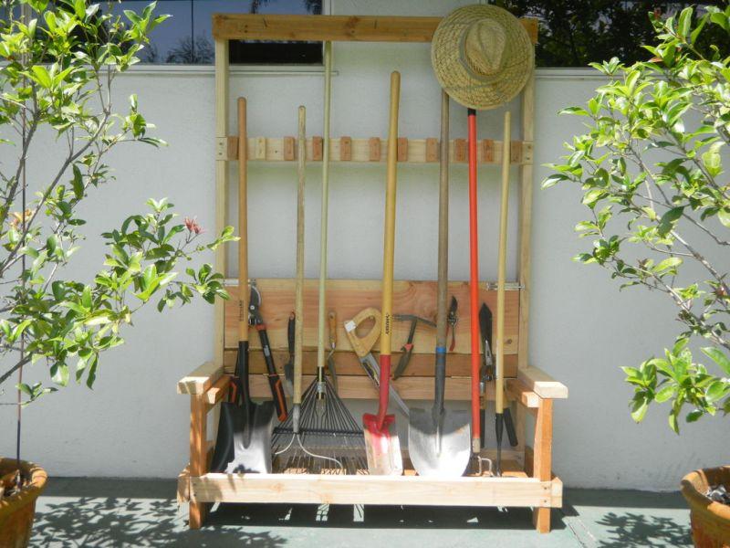 Garden Tool Rack with Bench