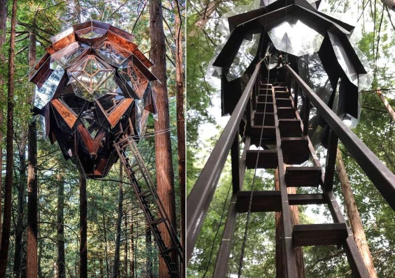 Treehouse, treehouse rental, Treehouse hotel, Pinecone Treehouse, O2 Treehouse, Dustin Feider, treehouse rental in California, treehouse in California,