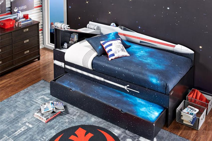 Star Wars X-Wing Bookcase Bed for Kids Bedroom