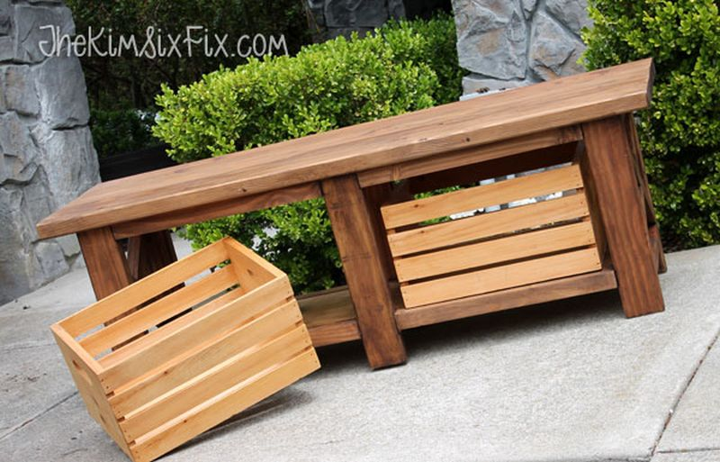 X-Leg Outdoor Wooden Bench with Crate Storage