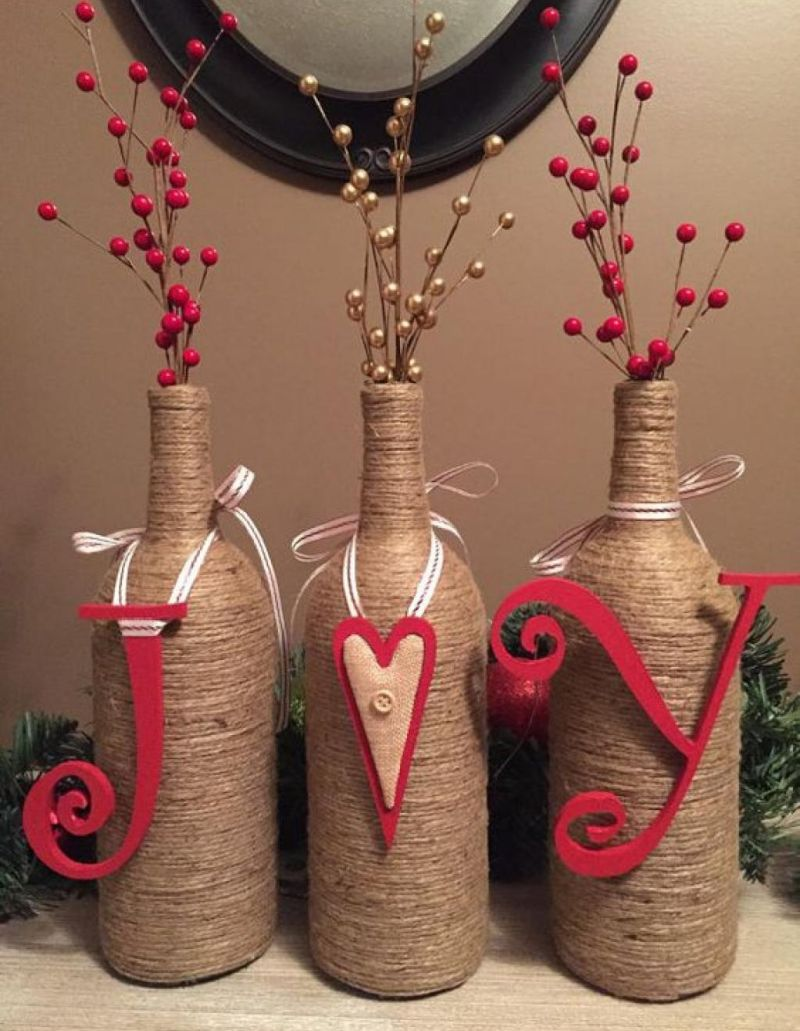netted wine bottle decoration
