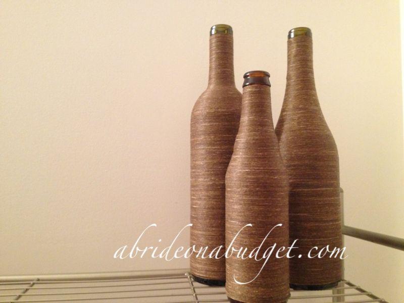 diy Jute twine wrapped wine bottle