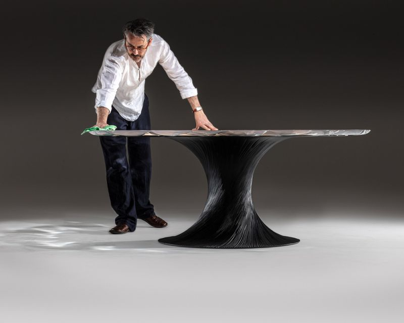 Wood and Resin Vortex Table by Marc Fish