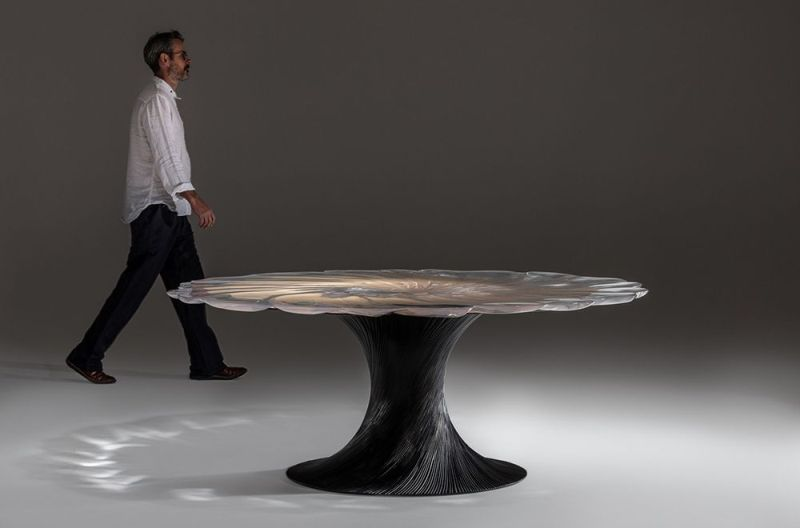 Wood and Resin Vortex Dining Table by Marc Fish