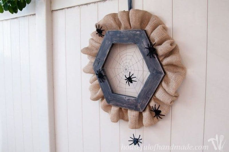Wooden Spider Web Halloween Wreath