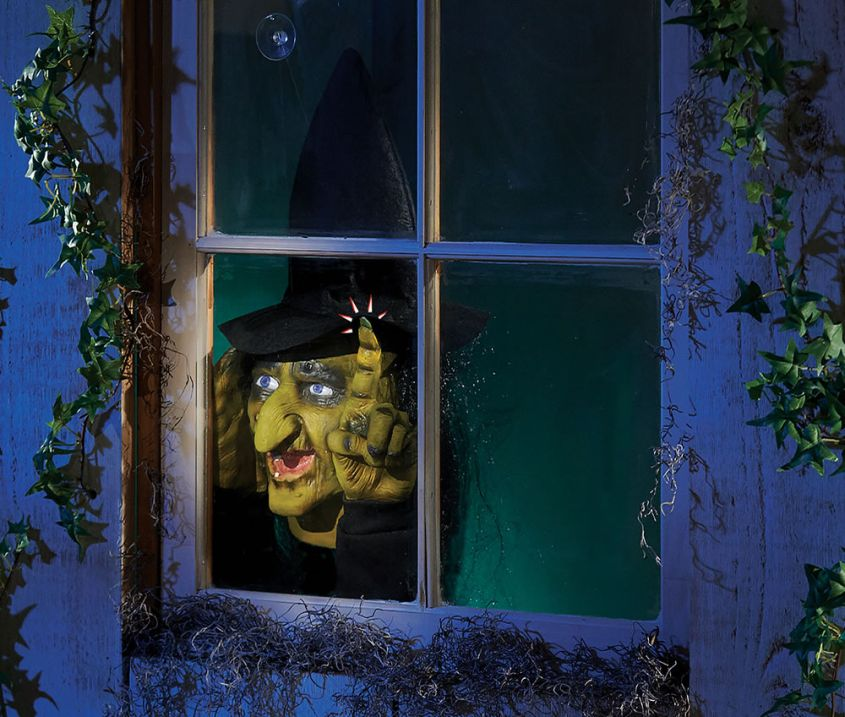 This Motion Activated Window Witch Will Creep Out Trick Or