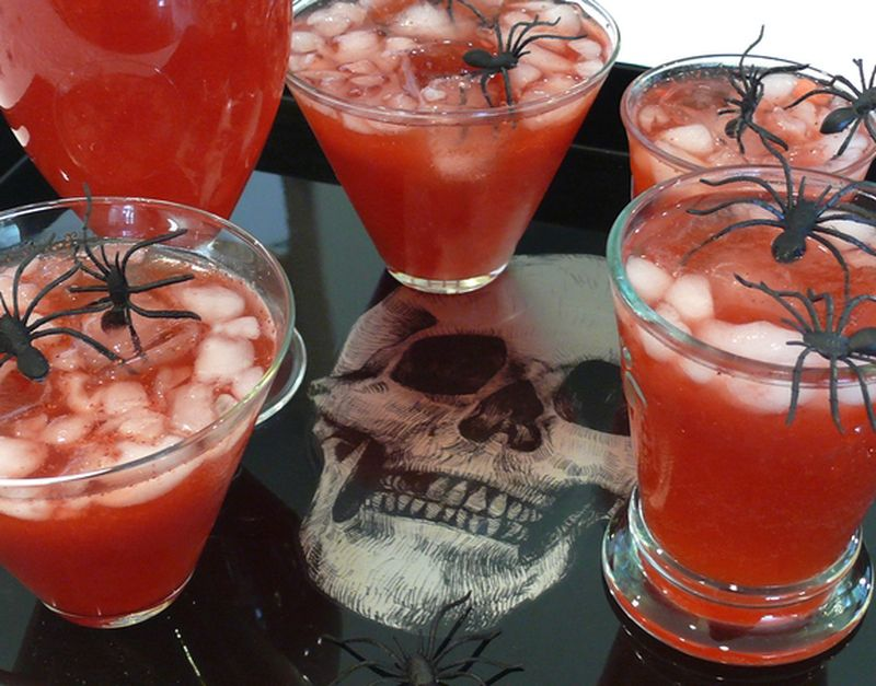 Blood Red Punch with Spider Ice Cubes