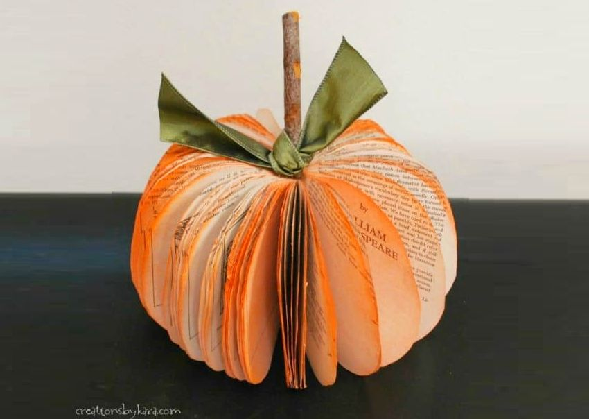 Book Page Pumpkin - Halloween decoration ideas