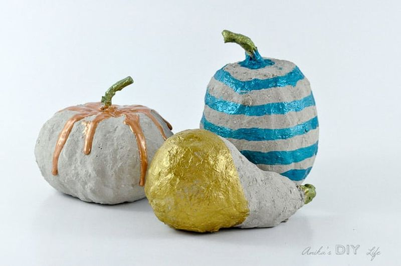 DIY Concrete pumpkin