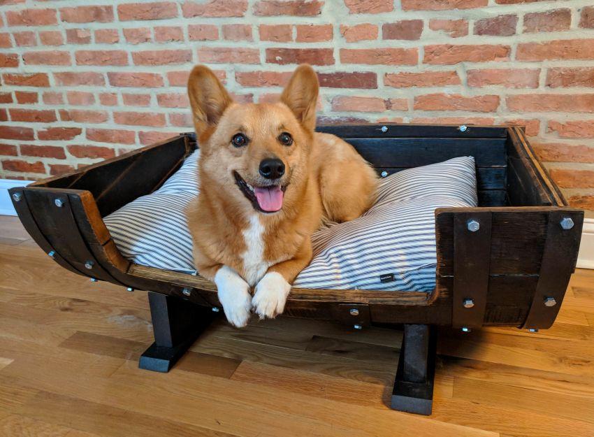 DIY Old Whiskey Barrel into Comfy Dog Bed