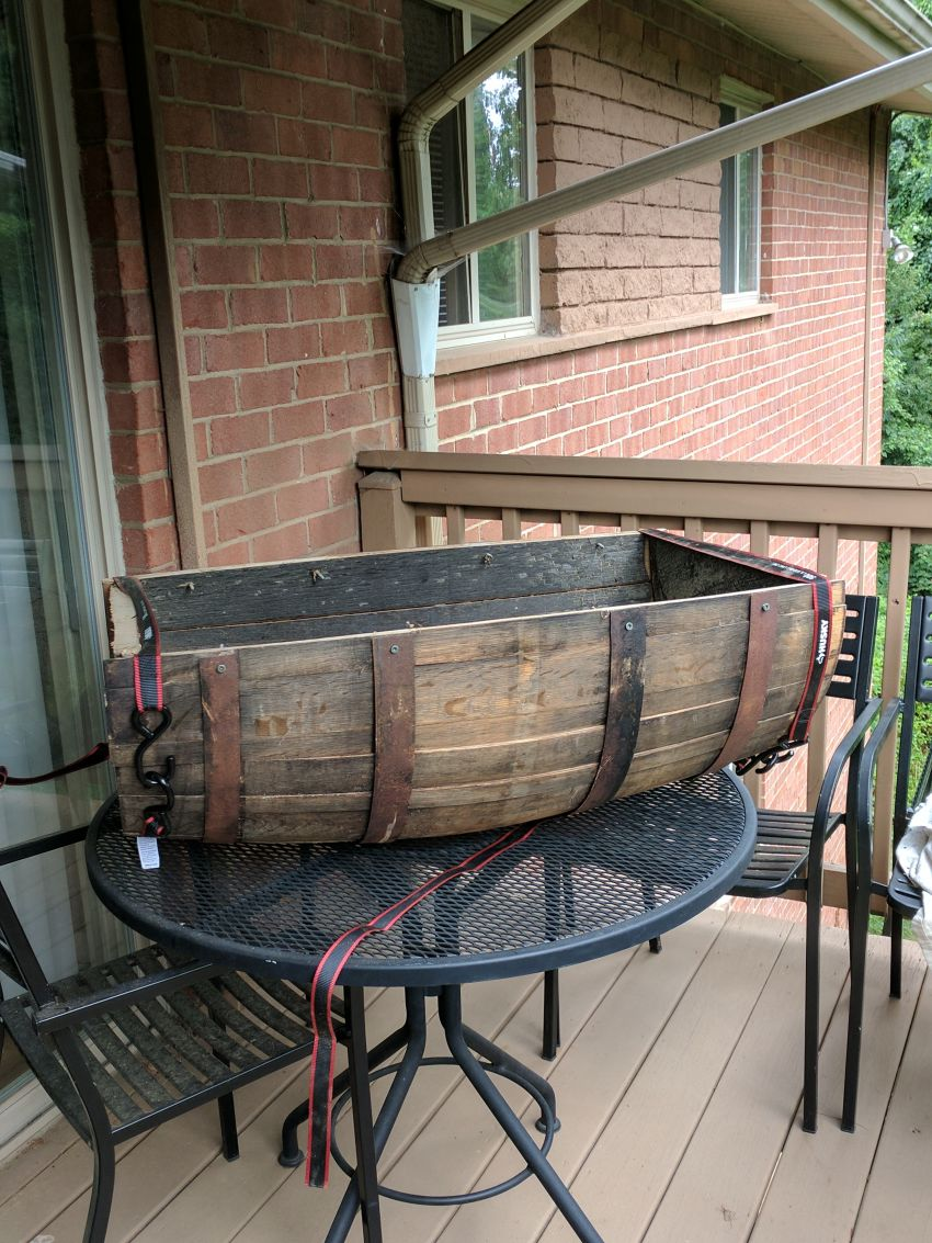 DIY Old Whiskey Barrel into Comfy Dog Bed