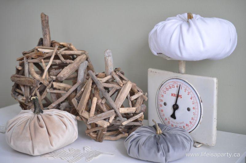 DIY driftwood pumpkin