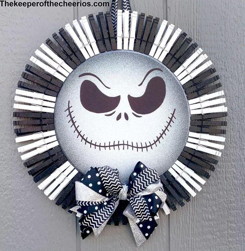 Jack Skellington Clothespin Halloween Wreath