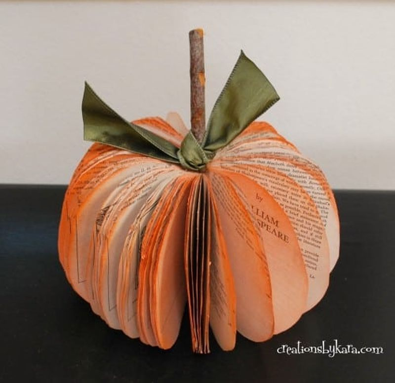 Book folded Paper Pumpkin Craft ideas