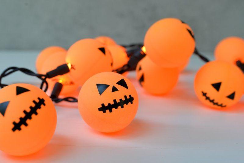 Ping Pong Ball Jack-O-Lantern